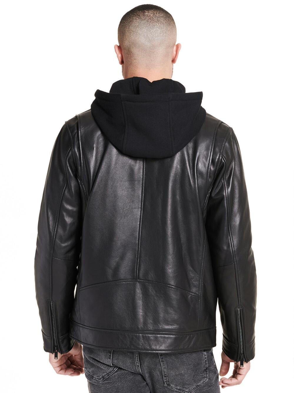 Full-Zip Faux-Leather Jacket w/ Removable Hood - Get Custom Leather Jackets