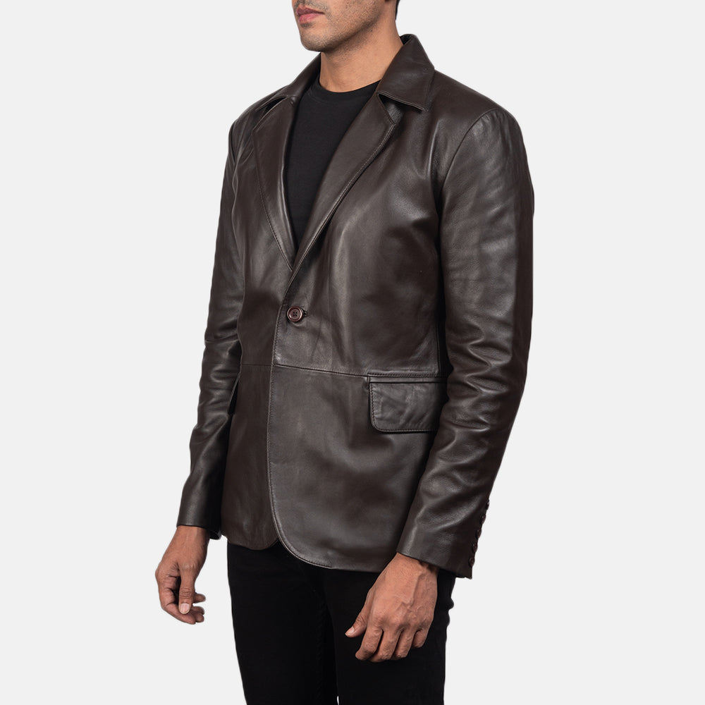 Daron Brown Leather Blazer for Men - Get Custom Leather Jackets