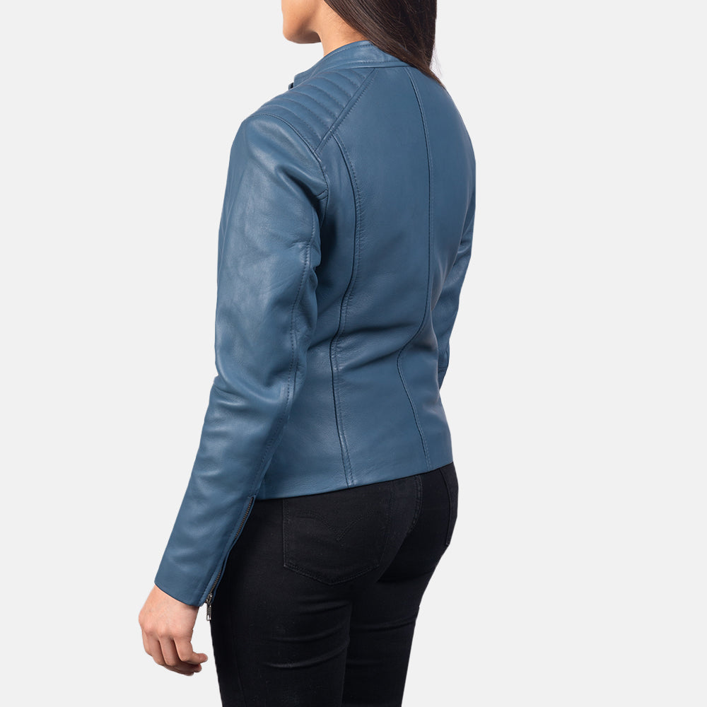 Kelsee Blue Leather Biker Jacket - Get Custom Leather Jackets