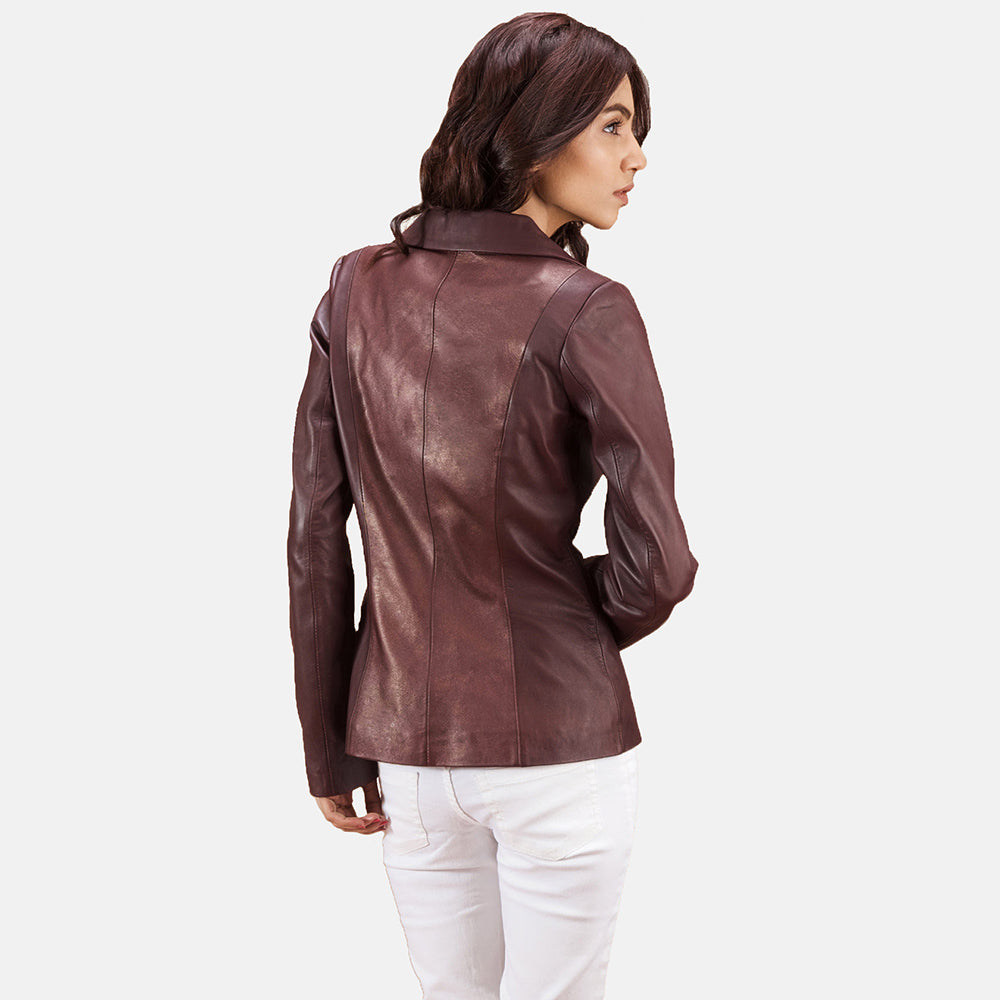 Ruby Metallic Maroon Leather Blazer - Get Custom Leather Jackets