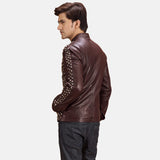 Rumano Jae Maroon Leather Biker Jacket - Get Custom Leather Jackets