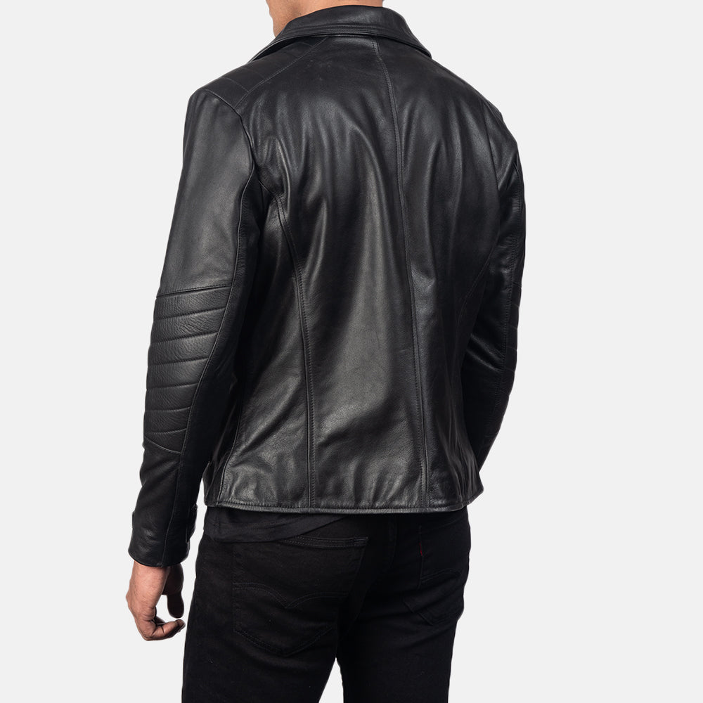 Austere Matte Black Leather Biker Jacket - Get Custom Leather Jackets
