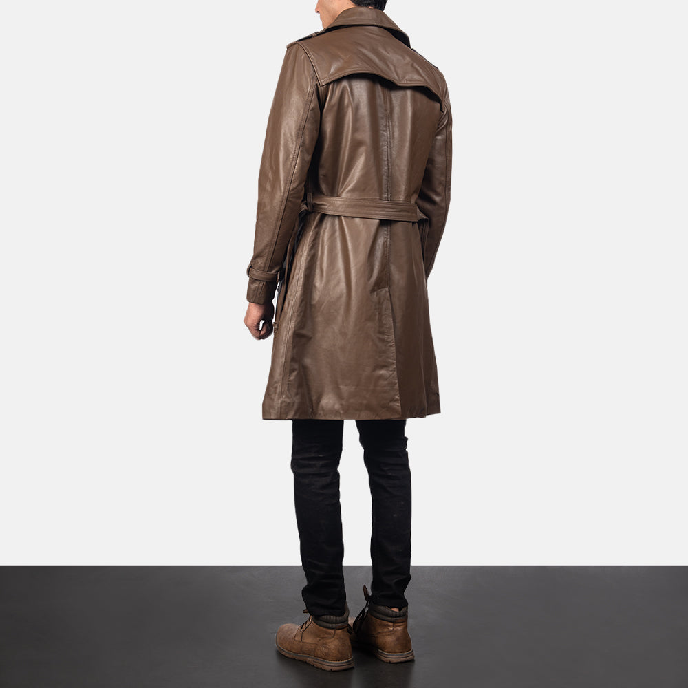 Royson Brown Leather Duster Coat - Get Custom Leather Jackets
