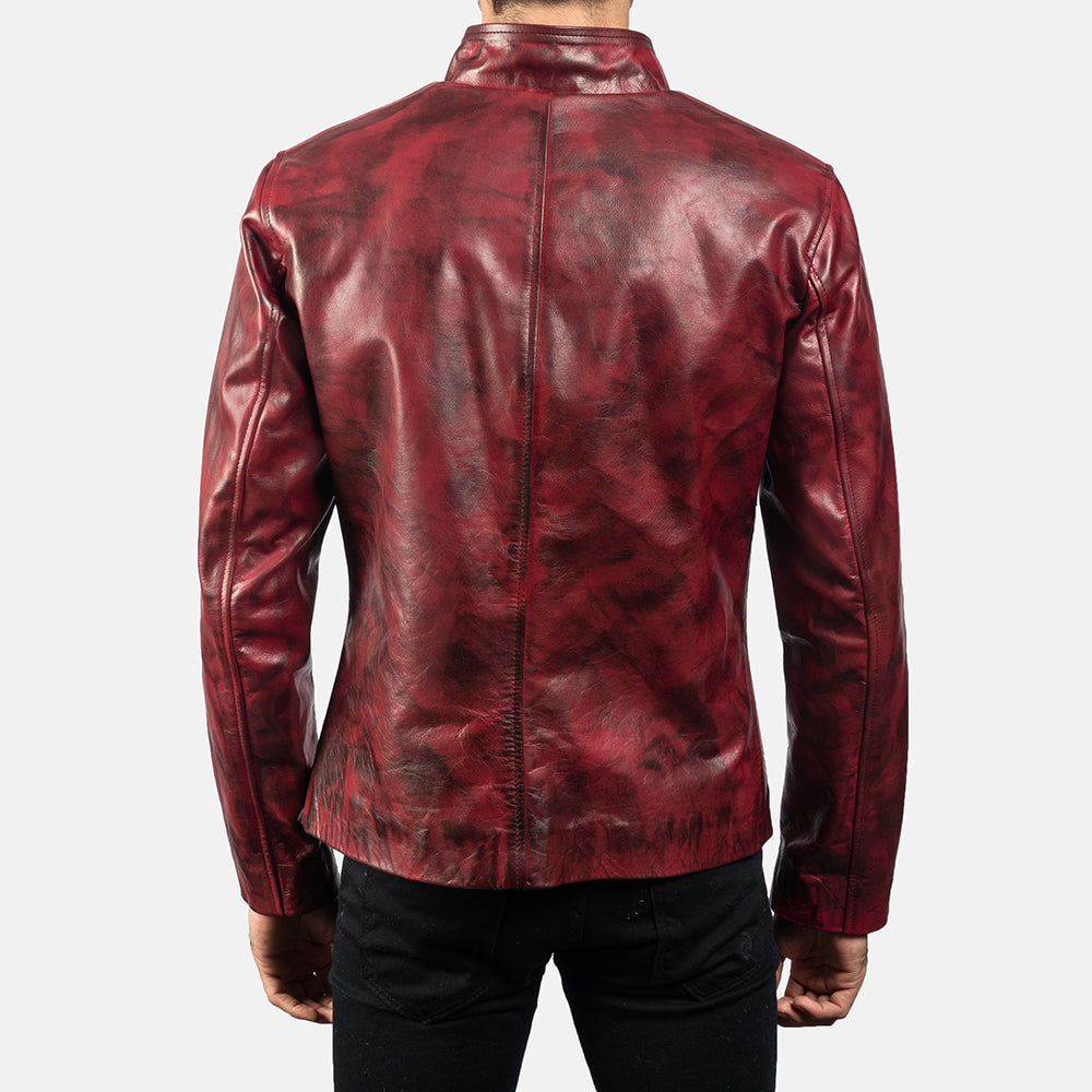 Alex Distressed Burgundy Leather Jacket - Get Custom Leather Jackets