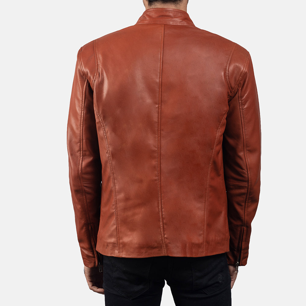 Brown Leather  Hunter Buffer Biker Jacket for men - Get Custom Leather Jackets