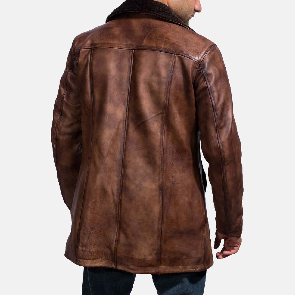 Cinnamon Distressed Leather Fur Coat - Get Custom Leather Jackets