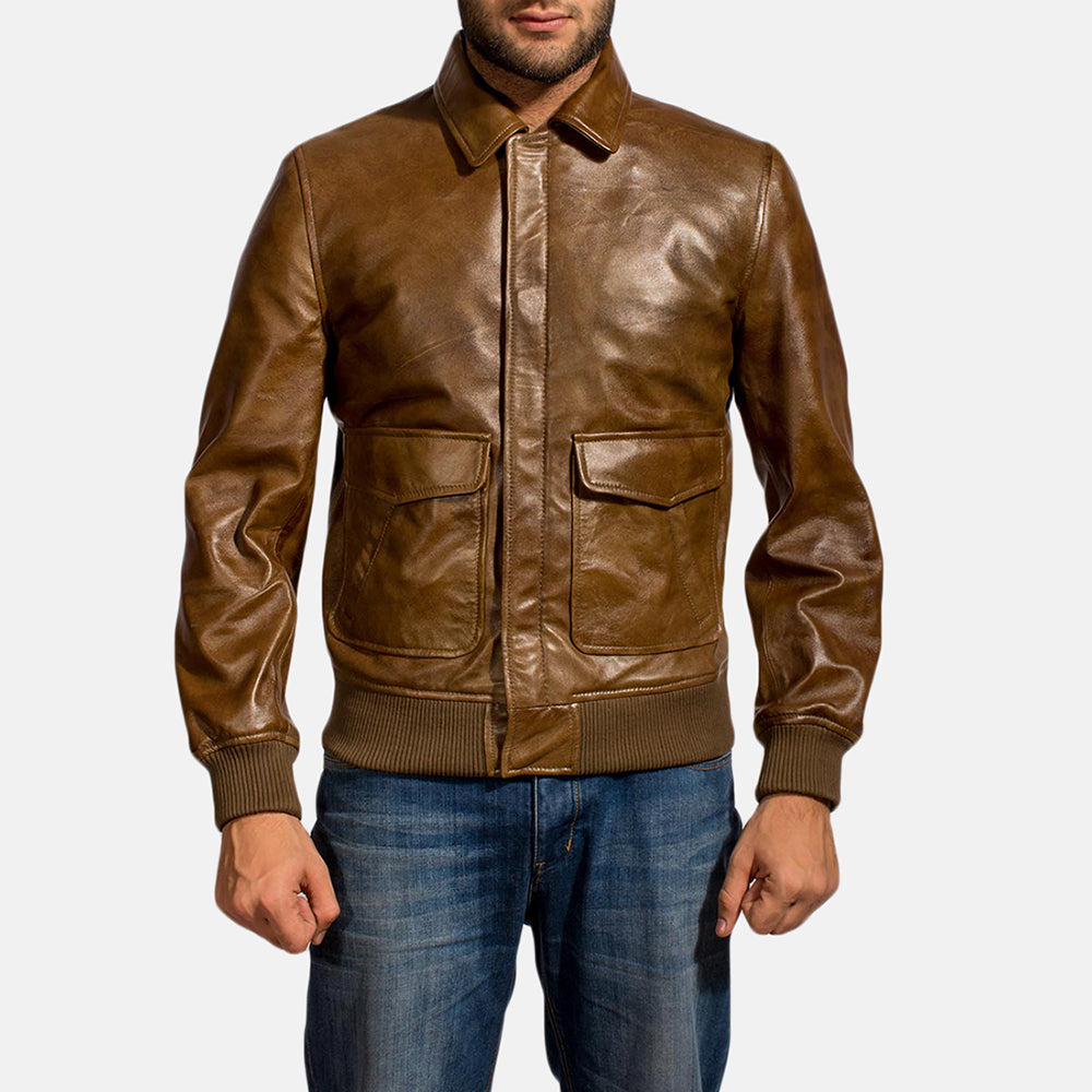 Brown Leather Best Bomber Jacket For Men - Get Custom Leather Jackets