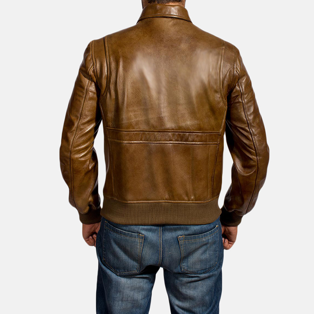 Coffmen Brown Leather Bomber Jacket - Get Custom Leather Jackets