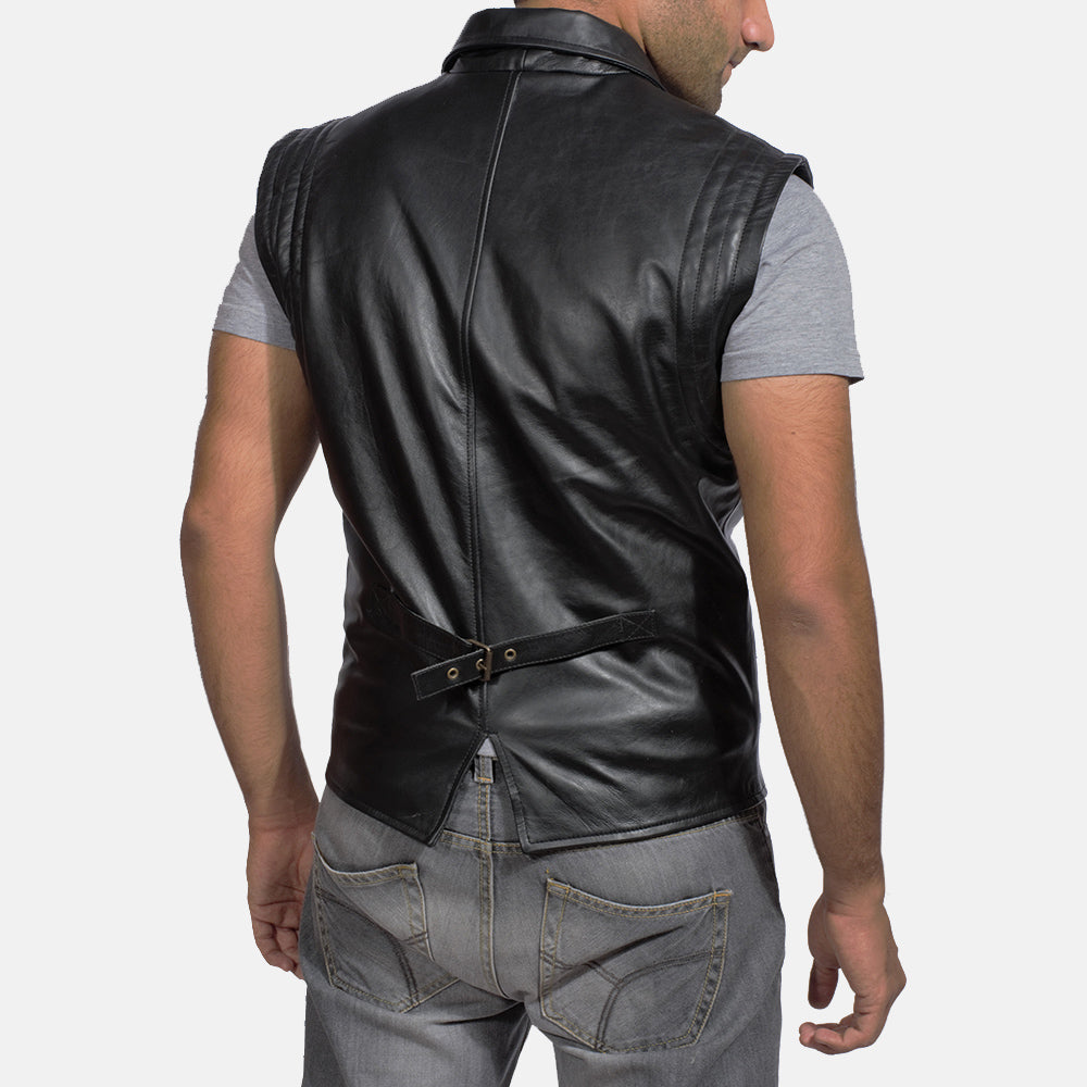 Desperado Black Leather Vest - Get Custom Leather Jackets