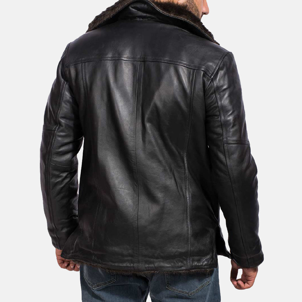 Fur cliff Black Leather Coat - Get Custom Leather Jackets