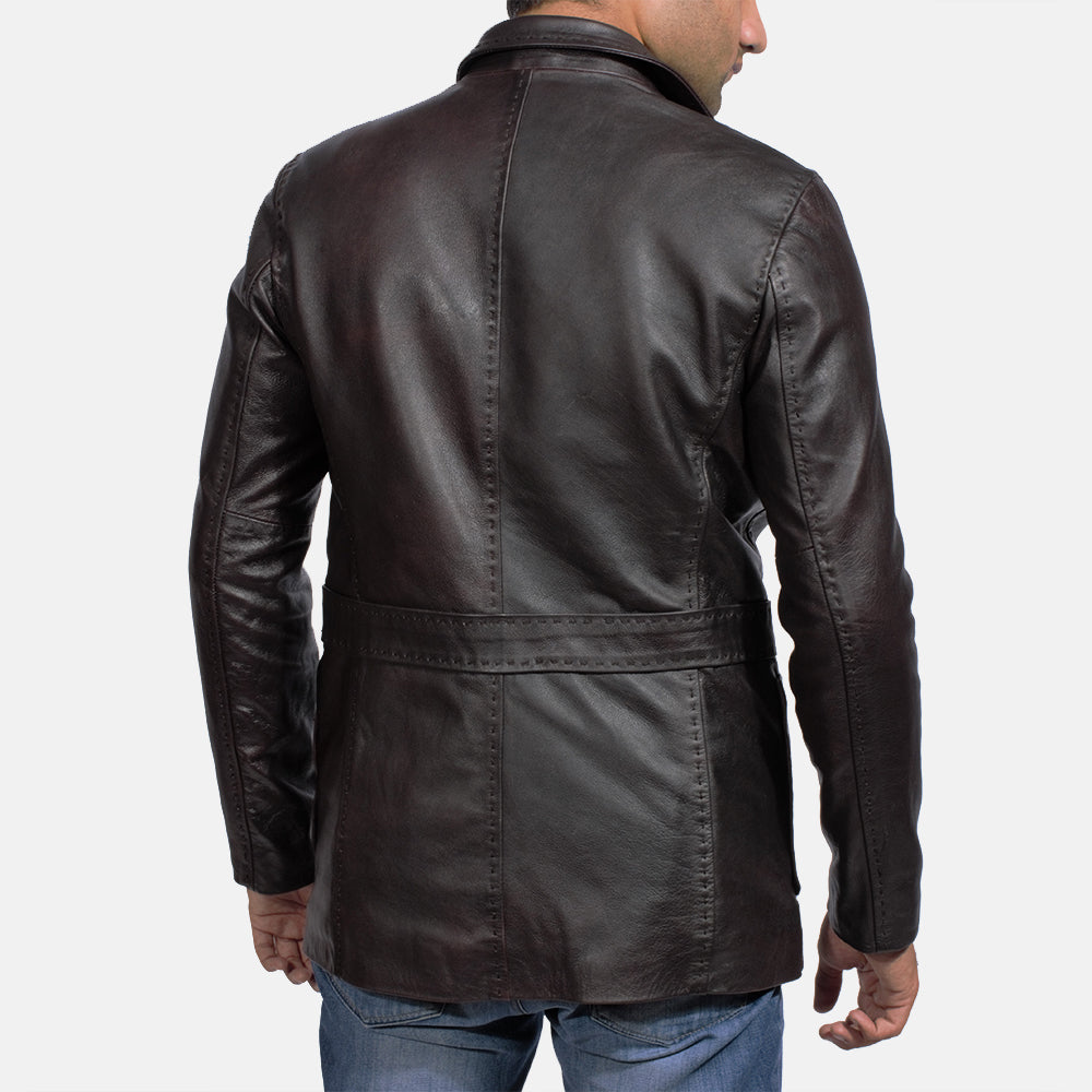 Wine Black Leather Blazer - Get Custom Leather Jackets
