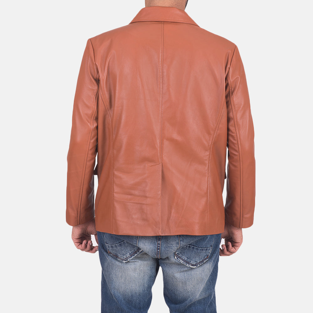 James Tan Brown Leather Blazer - Get Custom Leather Jackets
