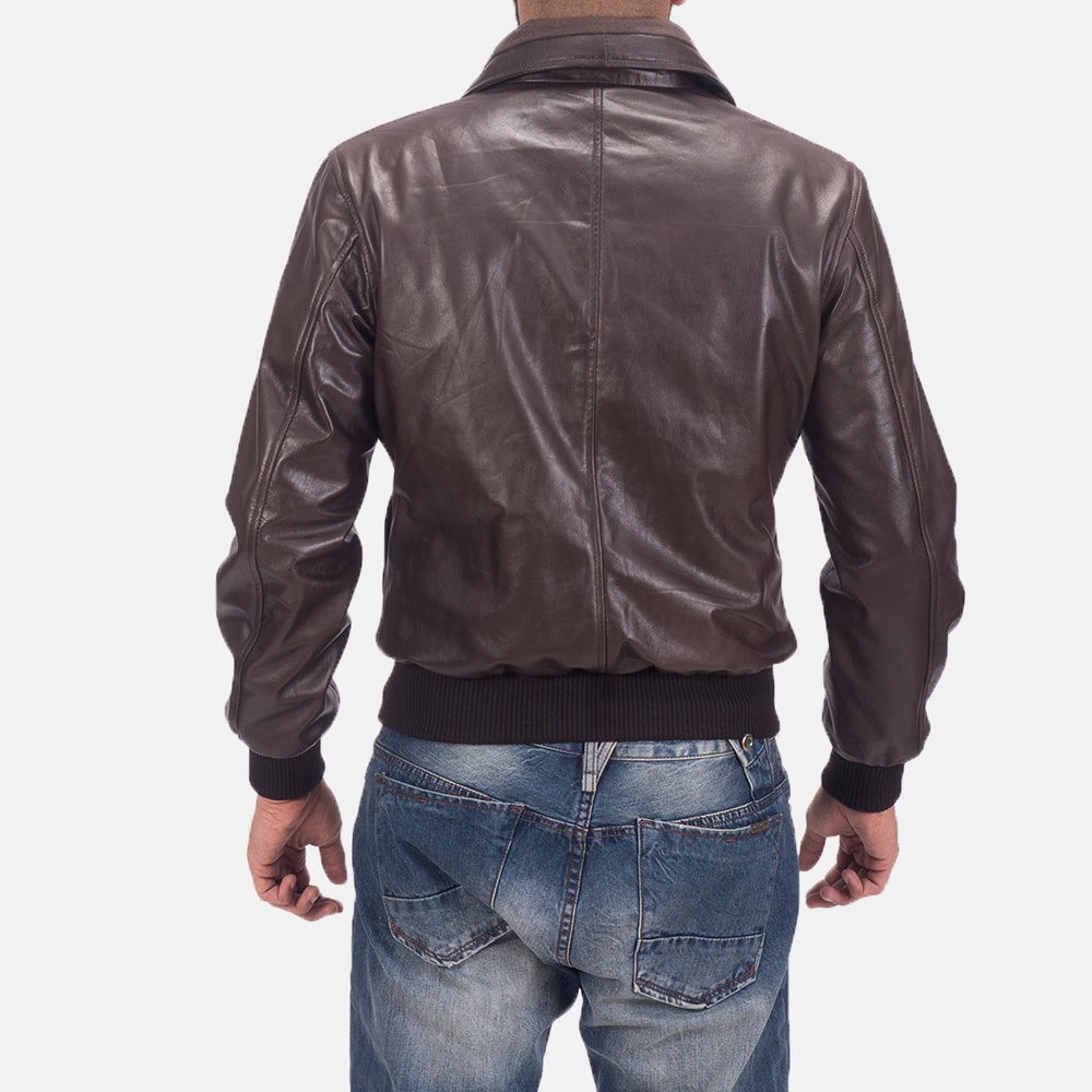 Air Rolf Brown Leather Bomber Jacket - Get Custom Leather Jackets