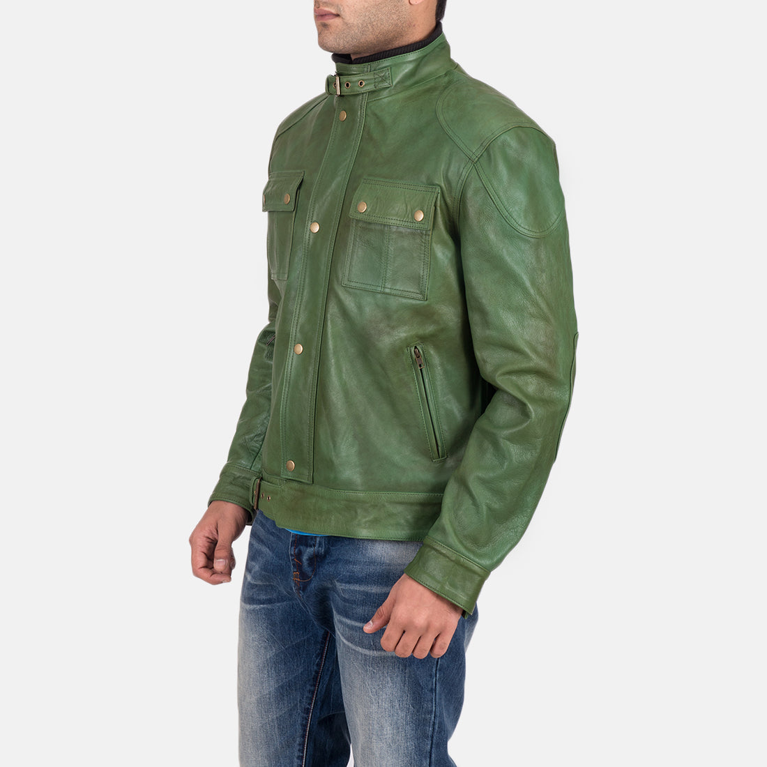 Krypton Distressed Green Leather Jacket - Get Custom Leather Jackets