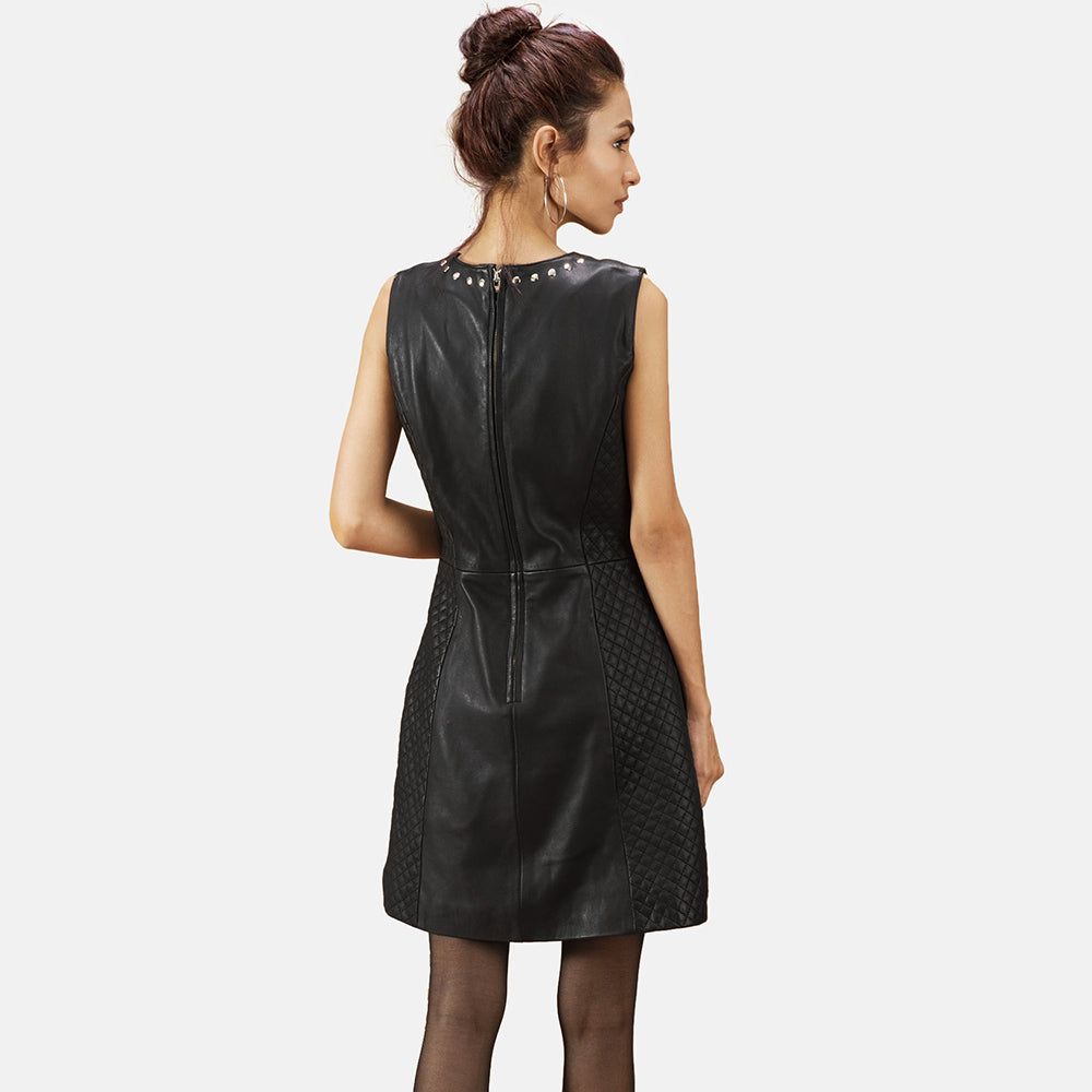 Luxe Black Leather Dress - Get Custom Leather Jackets