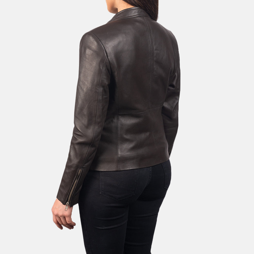 Rave Brown Leather Biker Jacket - Get Custom Leather Jackets