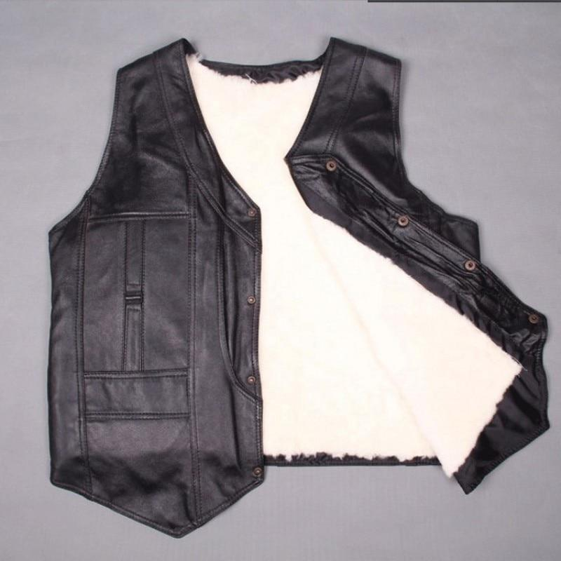 Real Sheepskin Wool Sleeveless Leather Vest - Get Custom Leather Jackets