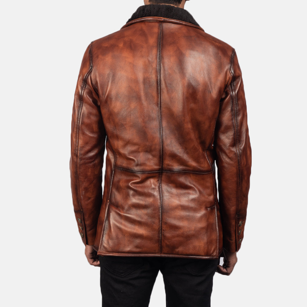 Rocky Brown Fur Leather Coat - Get Custom Leather Jackets