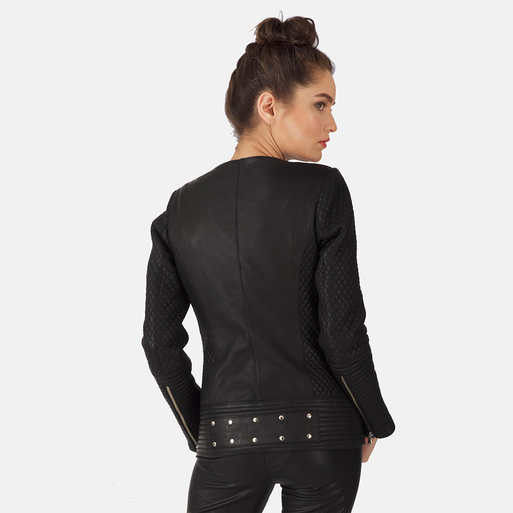 Celeste Studded Black Leather Jacket - Get Custom Leather Jackets