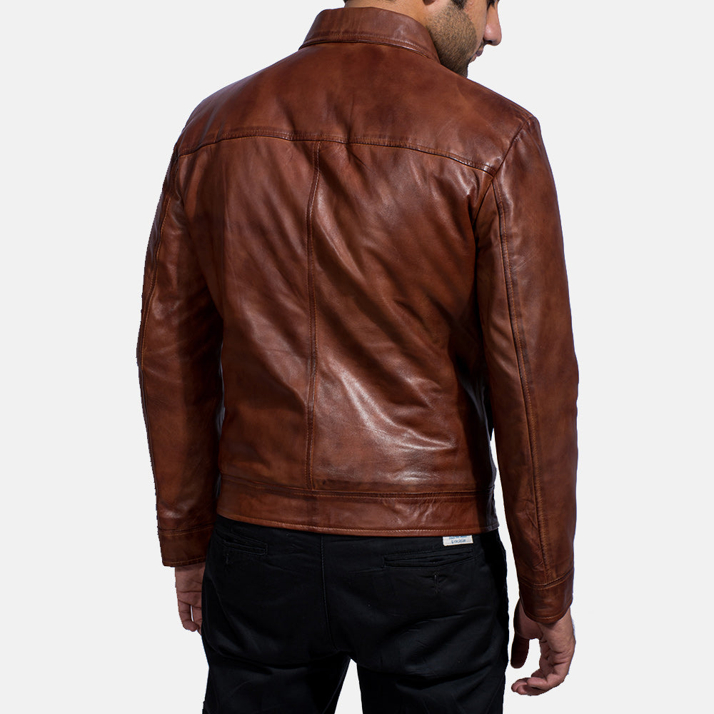 Inferno Brown Leather Jacket - Get Custom Leather Jackets