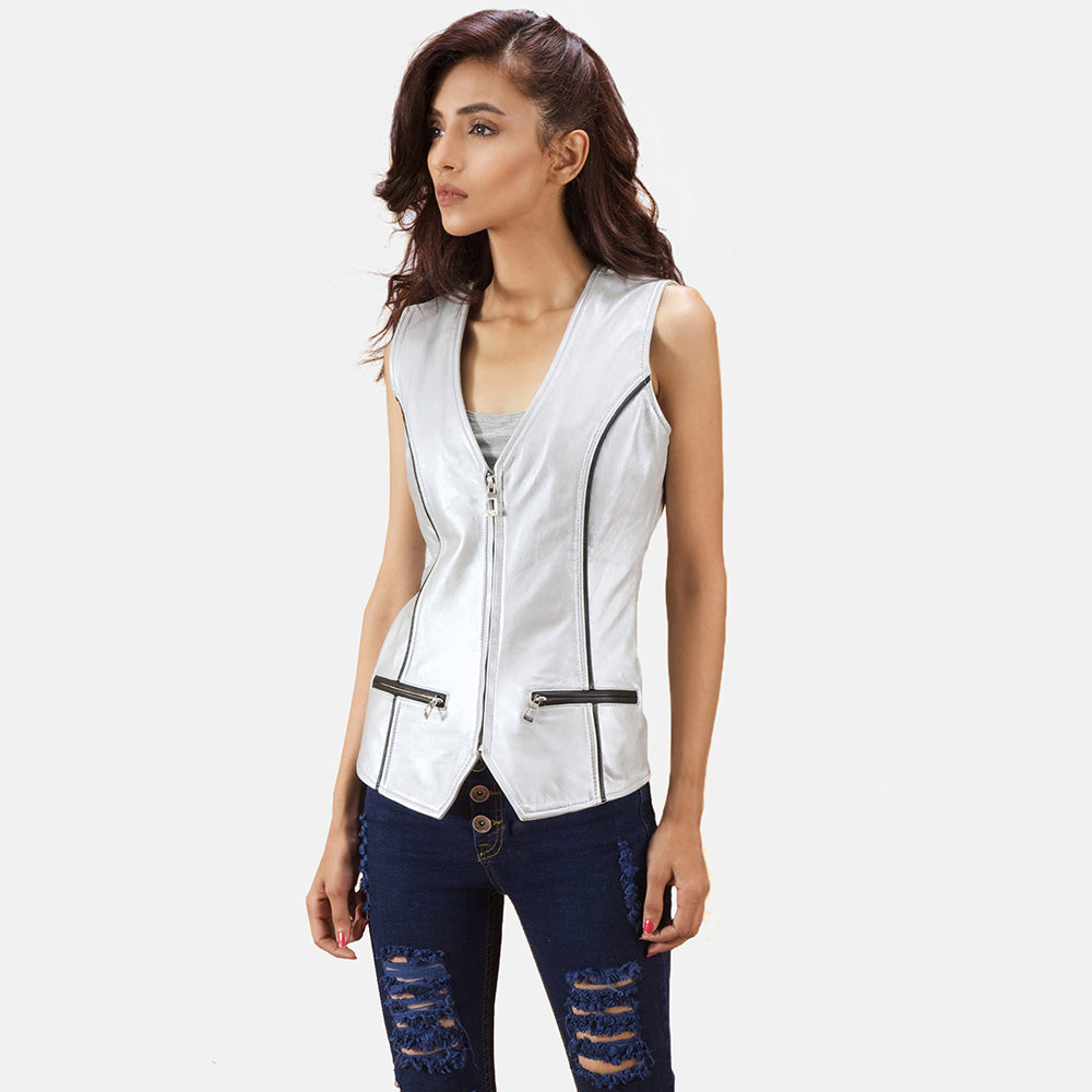 Misfit Metallic Silver Leather Vest - Get Custom Leather Jackets