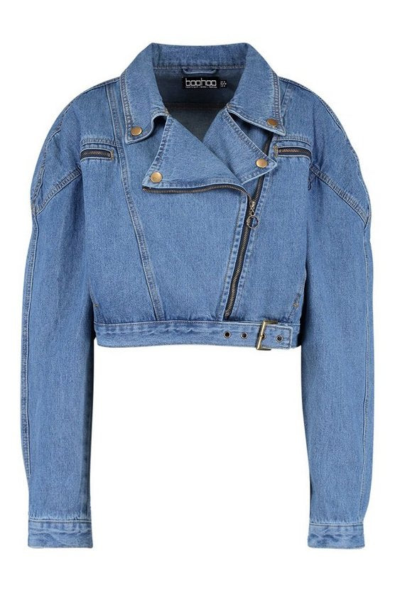 Crop Biker Zip Denim Jacket For  Women - Get Custom Leather Jackets