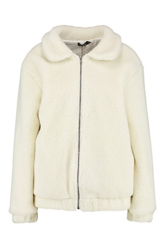 Oversized Teddy Faux Fur Bomber Jacket - Get Custom Leather Jackets