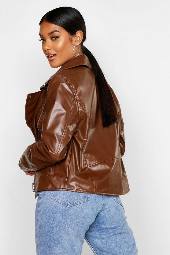 Brown Faux Leather Zip Biker Jacket For Women - Get Custom Leather Jackets