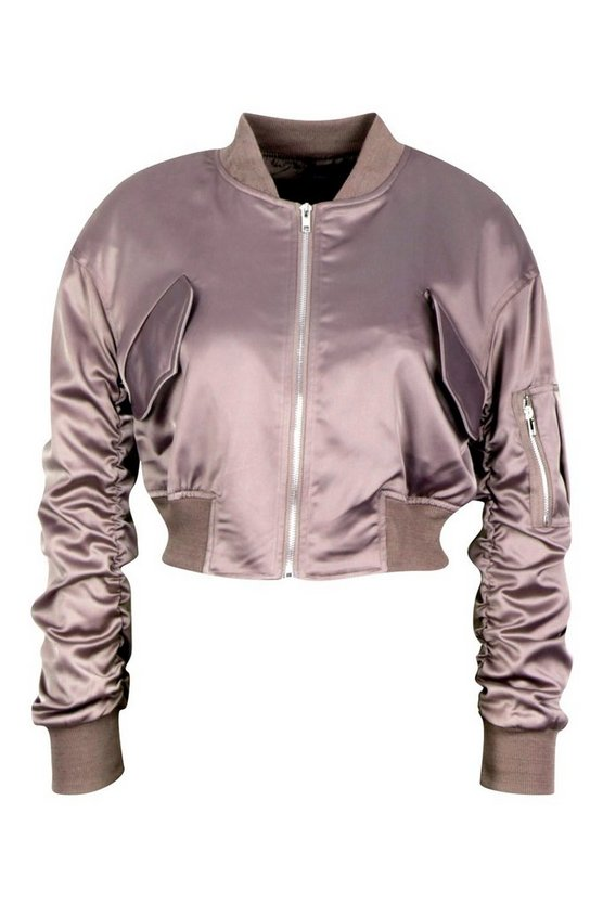 Satin Pocket Detail Bomber Jacket - Get Custom Leather Jackets