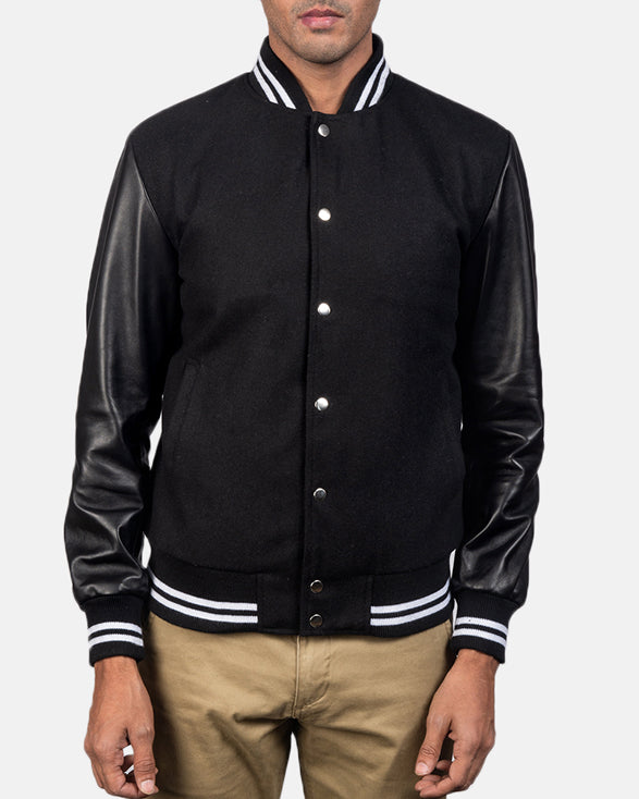 Harrison Black Hybrid Varsity Jacket - Get Custom Leather Jackets