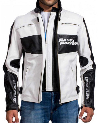 Fast and Furious 7 Dominic Toretto White Racer Jacket - Get Custom Leather Jackets