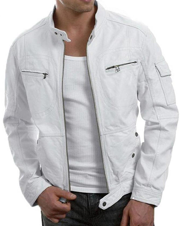 Mens Slimfit White Biker Leather Jacket - Get Custom Leather Jackets