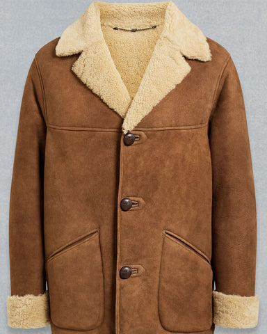 Brown Shearling Car Coat For Men - Get Custom Leather Jackets