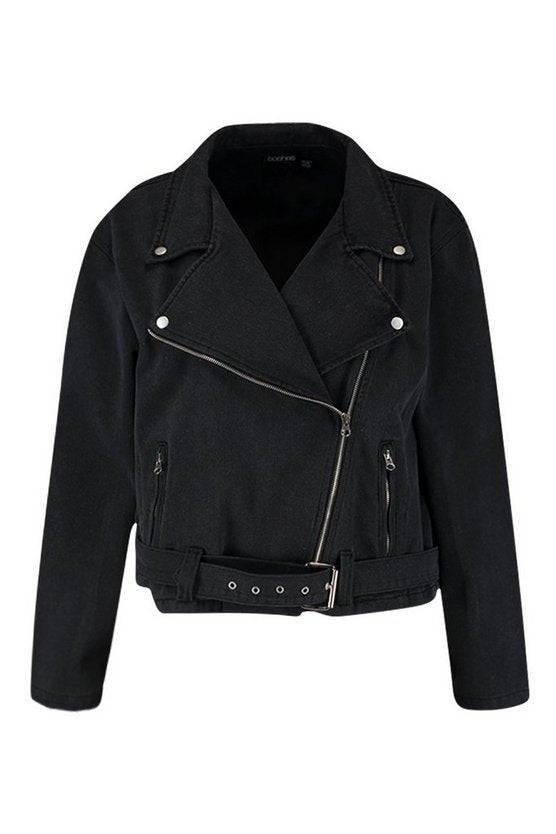 Plus Washed Black Denim Biker Jacket - Get Custom Leather Jackets