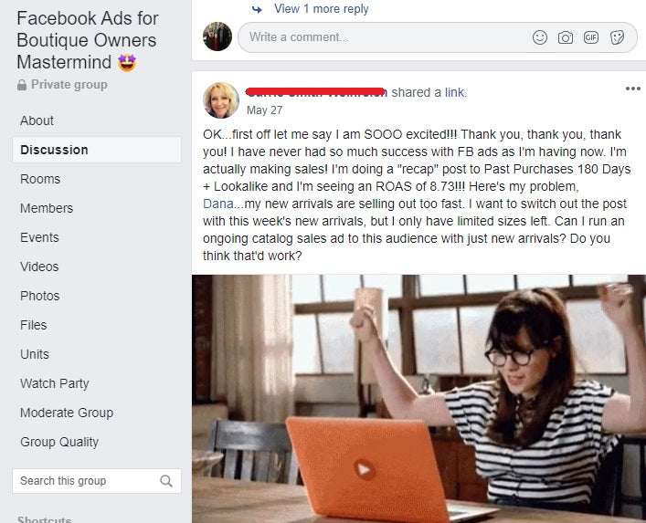 FB Ads Course for Boutique Owners Testimonial 1