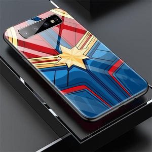 Captain Marvel Batman Iron Man Glass Phone Case For Samsung