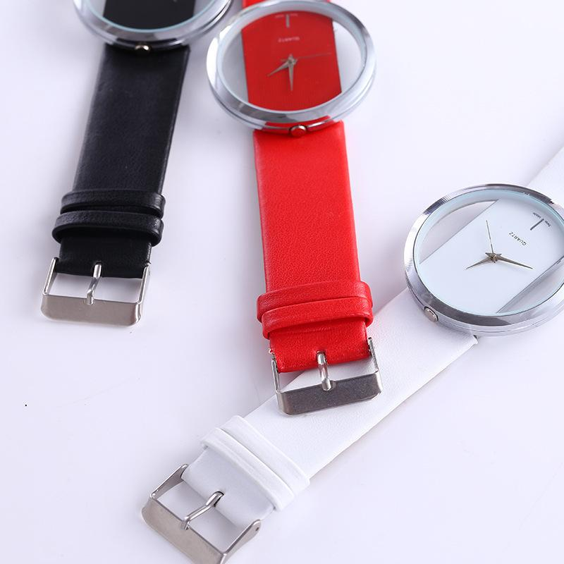 Leather Transparent Dial Fashion Watch