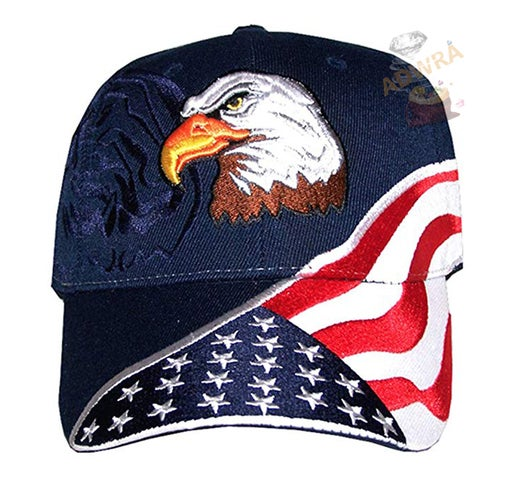 USA Flag Hat Embroidered American Flag & Eagle Baseball Cap with 100,000 Embroidery Stitches