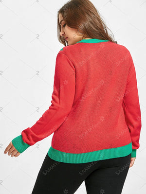 Christmas Gift Bowknot Jacquard Plus Size Sweater