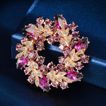 Rose Gold Plated Cubic Zirconia Flower Brooch