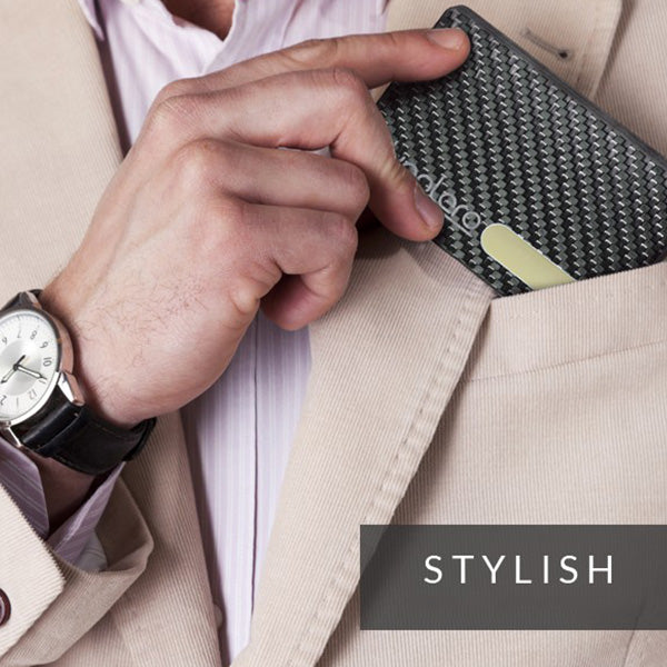 Fashion Sliding Fan Carbon Fiber Wallet