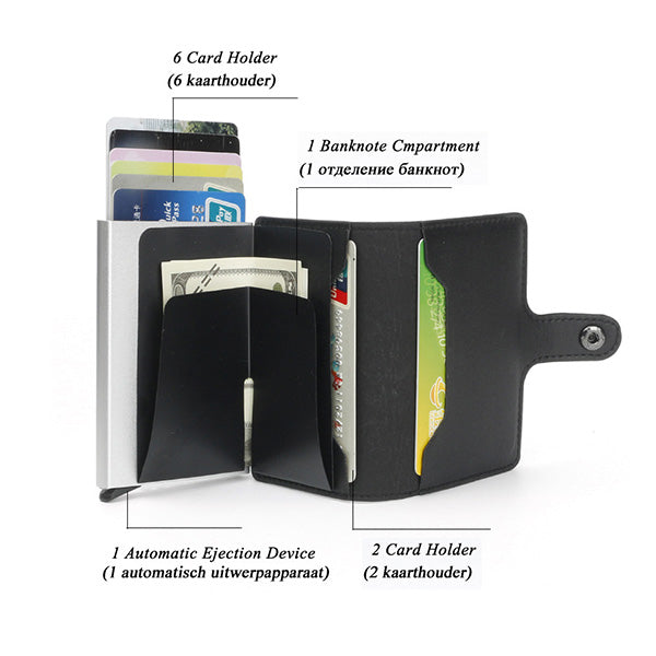 Automatic pop-up RFID anti-magnetic card package/wallet