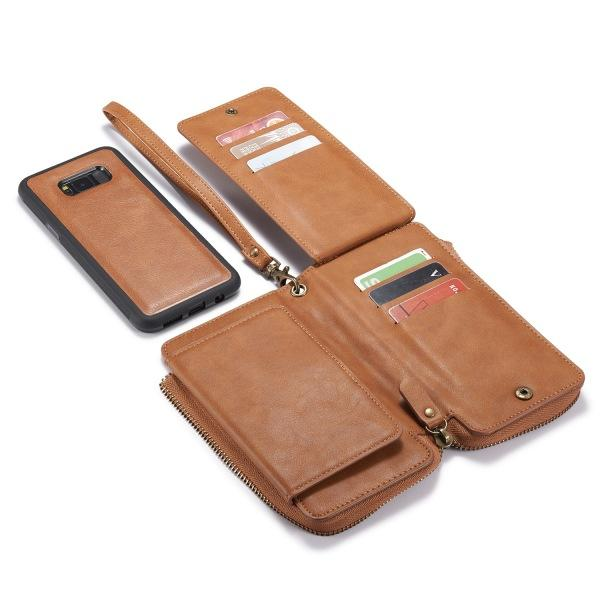 Samsung S8 S8 Plus Vintage Leather Zipper Wallet Mobile Phone Case Two-in-one Protective Cover