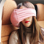 2 in 1 Travel Pillow Eye Mask - Compact and Versatile Travel Pillow for Airplanes, Cars, Office Naps, Camping, Trains