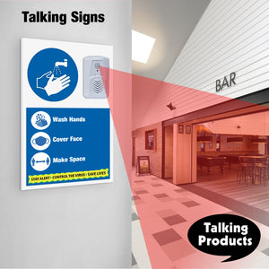 Audio Signs remind you to keep your distance