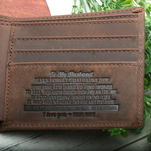 To Husband Leather Wallet - Valentine's Day Gift