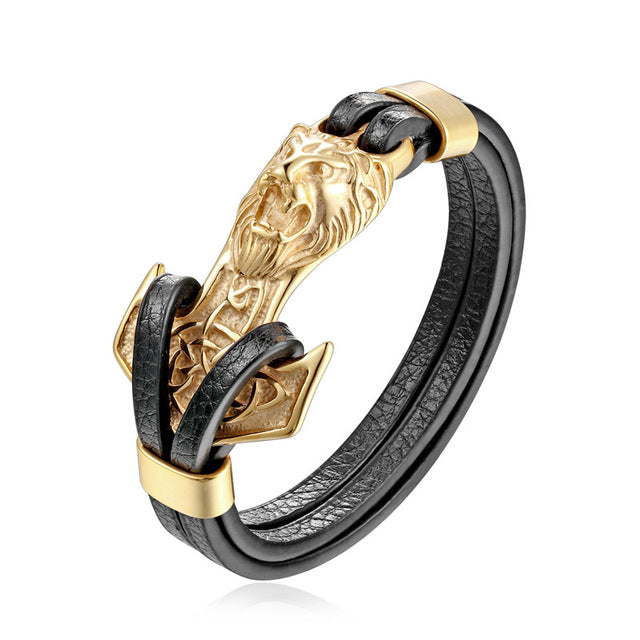 Luxury Gold Lion Black Leather Wristband