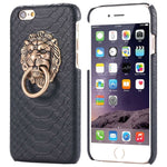 Stylish Leather Lion Head iPhone Case