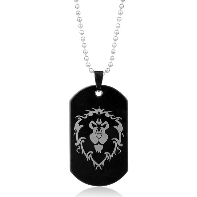 Lion Head Black Metal Dog Tag