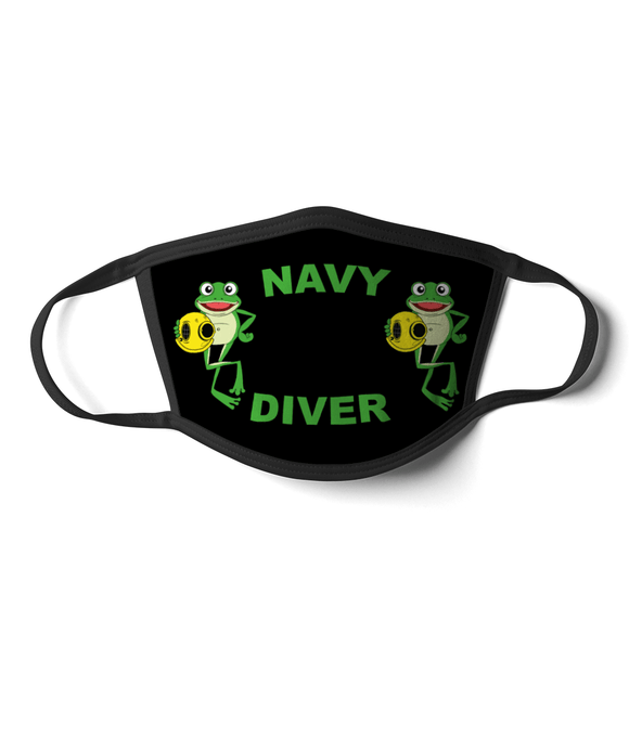 07 - Navy Diver - Happy Frog - Black Background - Divers Gifts & Collectables